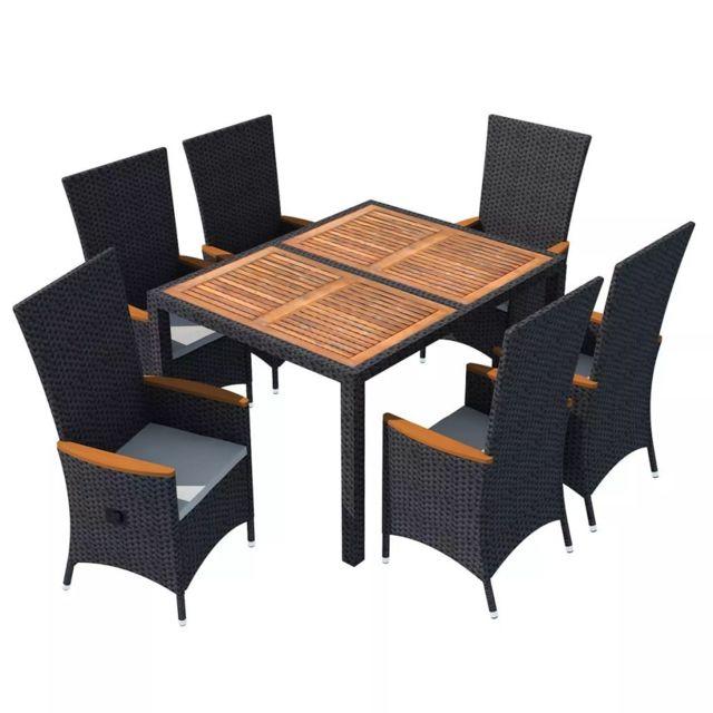 Icaverne - Ensembles de meubles d\'extérieur collection Mobilier de jardin  13 pcs Noir Bois d\'acacia Résine tressée XXL