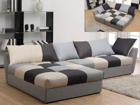Canapé d'angle convertible en tissu Romane - Gris - Angle gauche