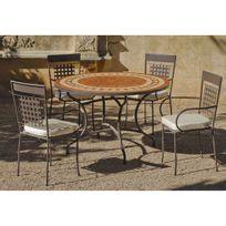 Hevea Jardin - Ensemble tables et chaises Set lorny/vigo Acier et mosaique - bronze / ecru