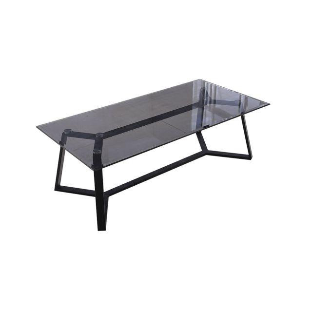 La Maison Du CanapÉ Table basse verre Neo - Noir - Noir