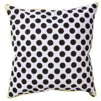 Pomax - Coussin carré 100% coton à pois noir et blanc 45x45cm Chupito