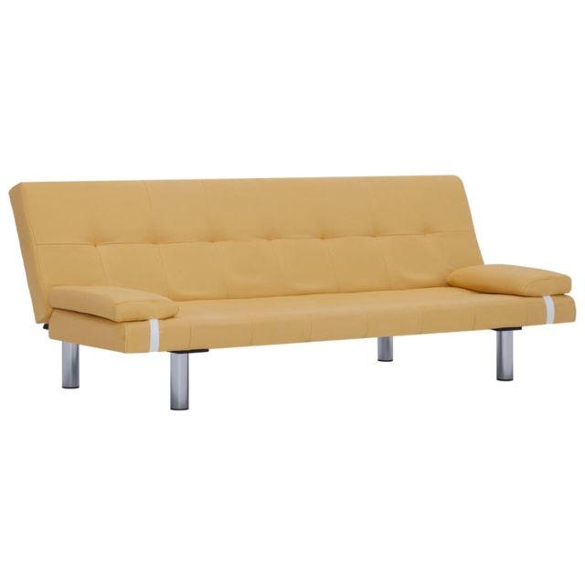Icaverne - Canapés famille Canapé-lit avec deux oreillers Jaune Polyester