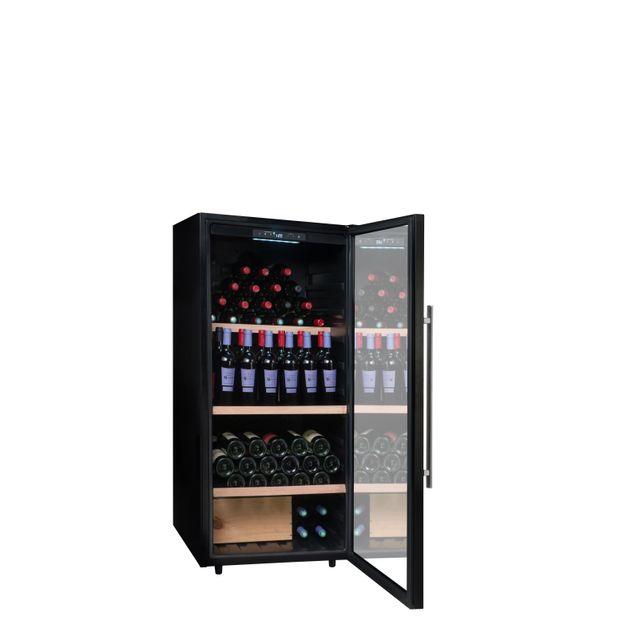 CLIMADIFF Cave à vin de conservation - PCLV160 - Installation : pose libre- Système de froid : compresseur (froid statique ou brassé)- Amplitude de fonctionnement : 5°-20°C- Carrosserie en tôle coloris noir- Revêtement in