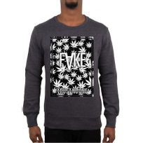 Fake - Paris - Sweat Col Rond Anthracite Casa Weed N&B