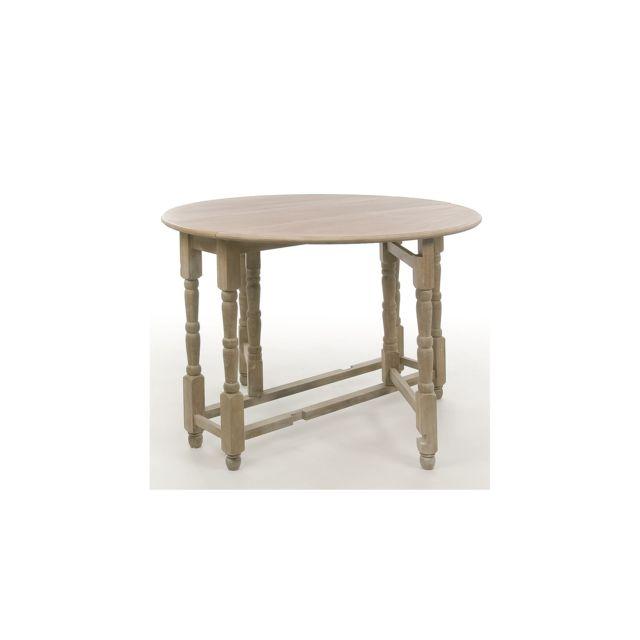 hellin table pliable ronde korg en bois bois clair 116cm x 116cm x 79cm non extensible. Black Bedroom Furniture Sets. Home Design Ideas
