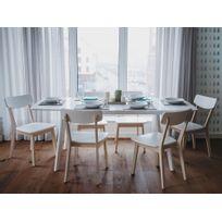 Beliani - Table de salle à manger - Table extensible - Table blanche - 150-195 cm - Sanford