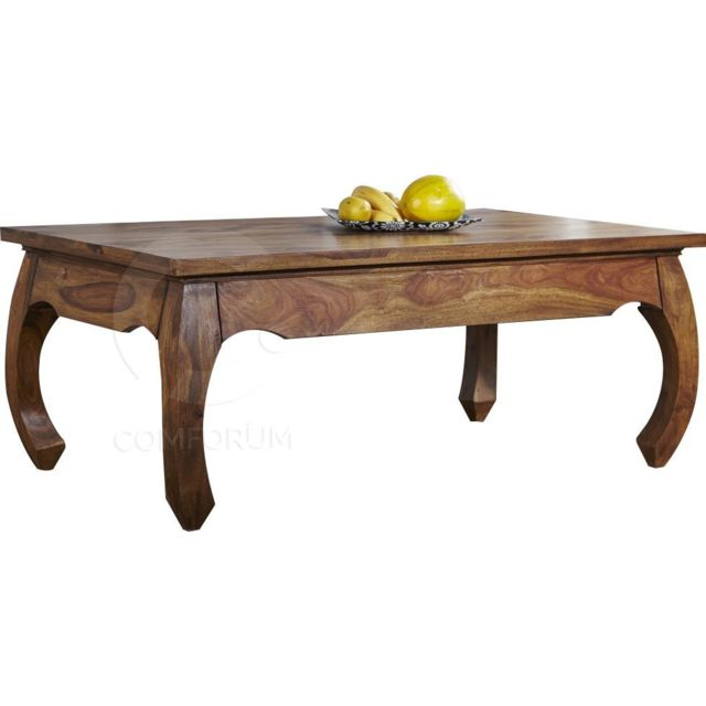 Comforium Table basse rectangle baroque en bois massif de palissandre