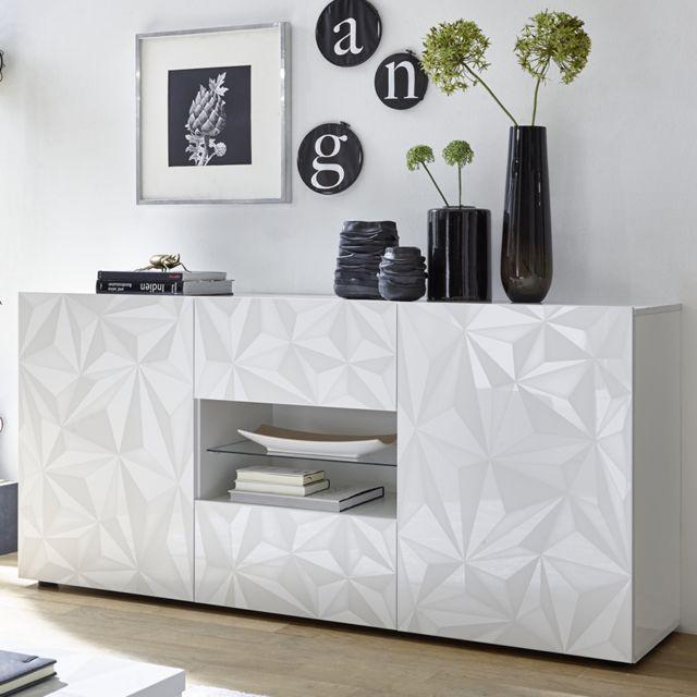 Sofamobili Bahut 180 cm design blanc laqué Antonio