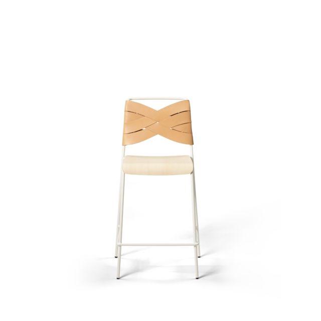 Design House Stockholm Chaise de bar Torso - cuir - Frêne/ blanc