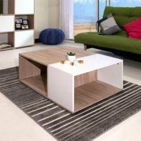 - Table basse bicolore coloris chêne et blanc