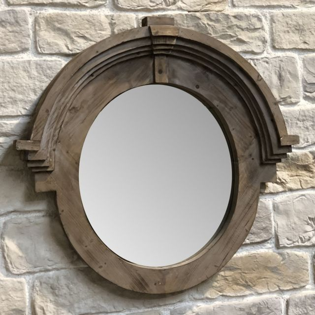 L'ORIGINALE Deco Miroir de Charme Fenêtre Miroir Œil de Bœuf Bois 105 cm x 99 cm