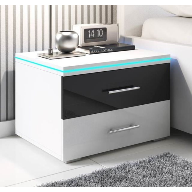 Design Ameublement Table de chevet Paulina noir et blanc