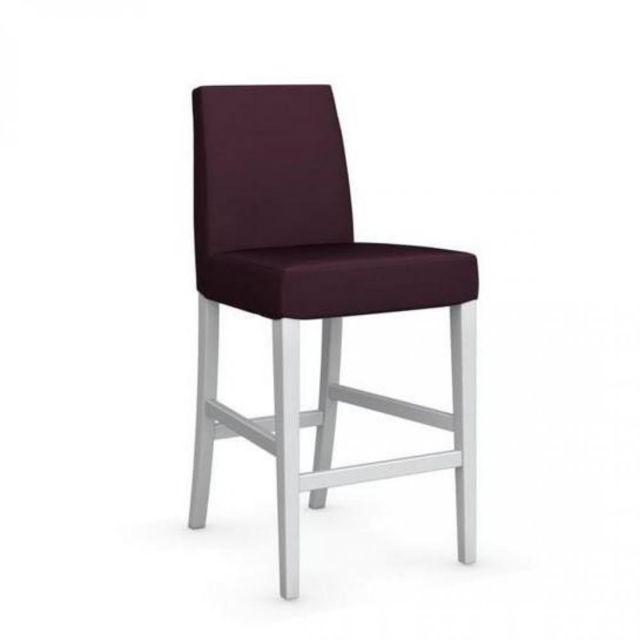 Chaise de bar Latina piétement hêtre laqué blanc assise tissu aubergine