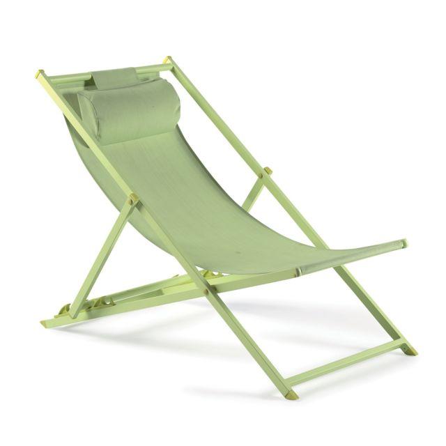 gecko jardin chilienne en aluminium et textilne vert anis lota pas cher achat vente transats chaises longues rueducommerce - Chilienne Pas Cher