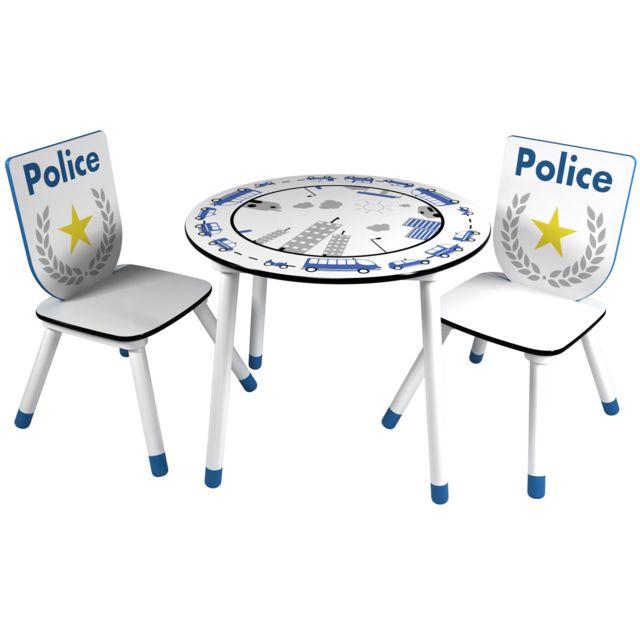 HABITAT ET JARDIN Set table + 2 chaises Police - 60 x 50 x 60 cm - Coloris bleu/blanc