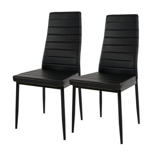 Autre Lot de 2 chaises de salle à manger noir cuir Pu Cds04012