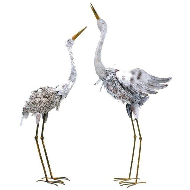 Chemin De Campagne Statue Sculpture Couple Cigogne en Fer Oiseaux