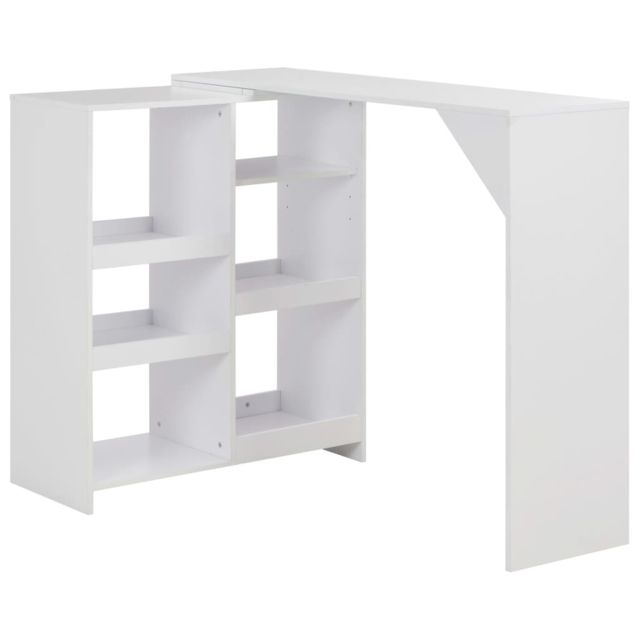 Stylé Tables selection Bissau Table de bar avec tablette amovible Blanc 138 x 40 x 120 cm