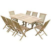 Teck'LINE - Ensemble salon de jardin en teck Sunang 8 chaises Jenae