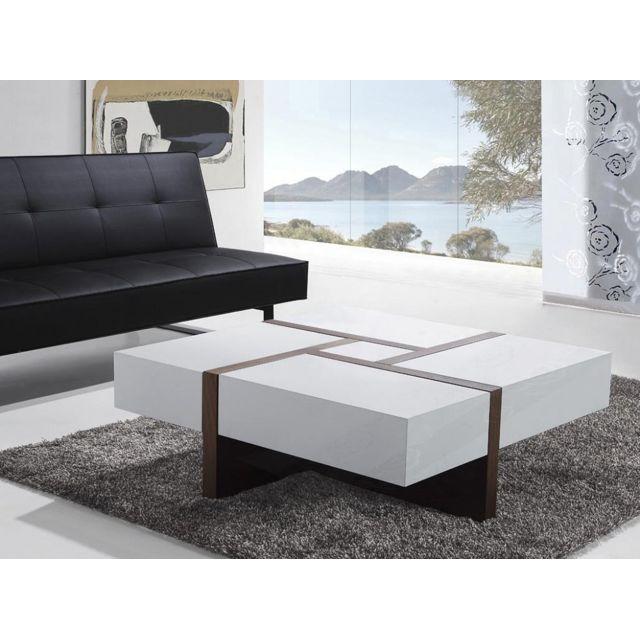 Table Basse Table De Salon 100x100 Cm Blanc Evora