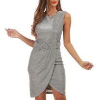 d1bdba5d382 Lamodeuse - Robe argentée pailletée style portefeuille avec ceinture