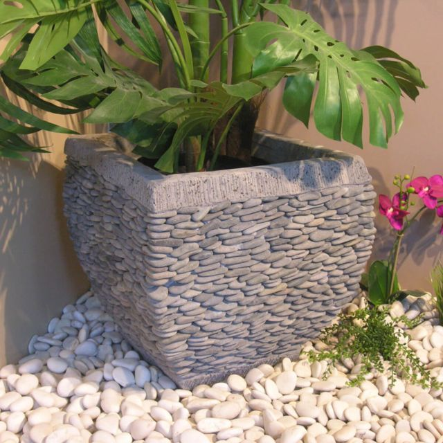 Wanda Collection - Pot bac jardinière galbé galet hauteur 50cm ...