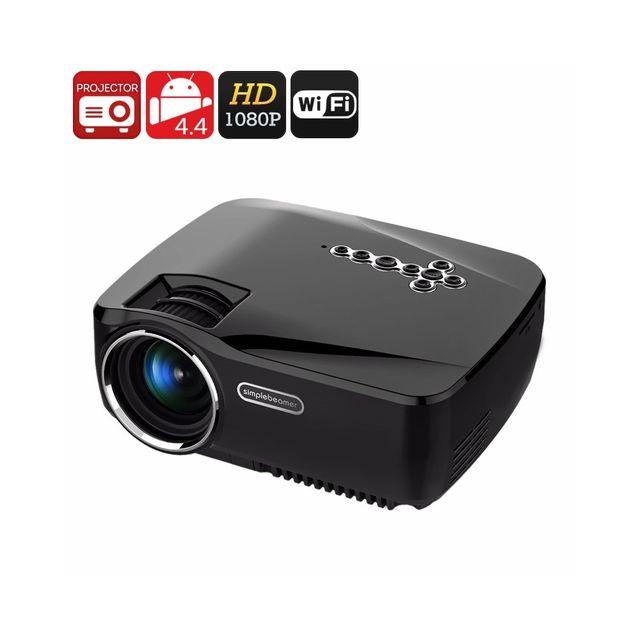 Auto-hightech Projecteur vidéo 1200 Lumens Android Bluetooth 1080P 25 à 100 pouces Kodi Wi-Fi