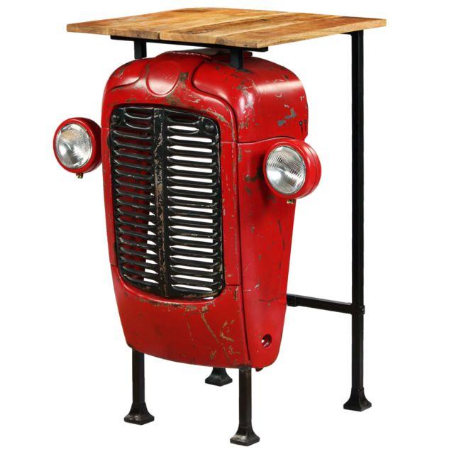 Vidaxl Table de Bar Bois de Manguier Massif Rouge Tracteur Table de Cuisine