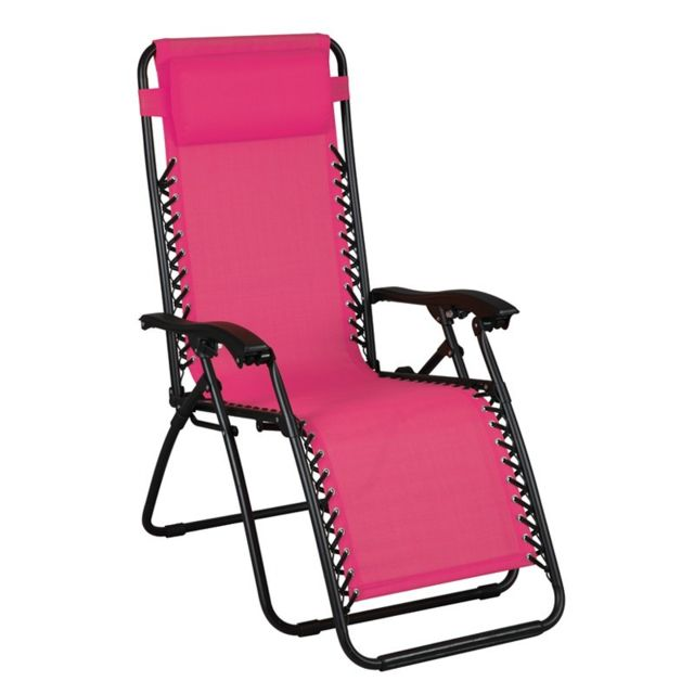 Tousmesmeubles Fauteuil Relax multiposition Rose - Spryng - L 91 x l 65x H 113