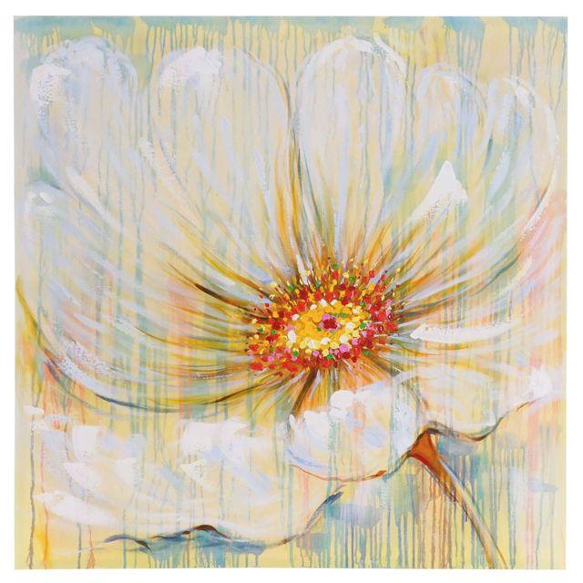 Mendler   Tableau à Lu0027huile, Fleurs Blanches, Peint à La Main à 100%, Toile  De Décoration Murale Xl ~ 100x100cm   Pas Cher Achat / Vente Tableaux,  Peintures ...