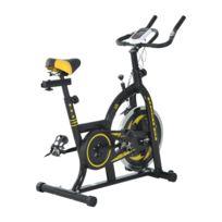 HOMCOM - Vélo d'appartement Fitness professionnel cardio vélo biking capteur pouls volant d'inertie 10 Kg écran LCD noir et jaune neuf 20