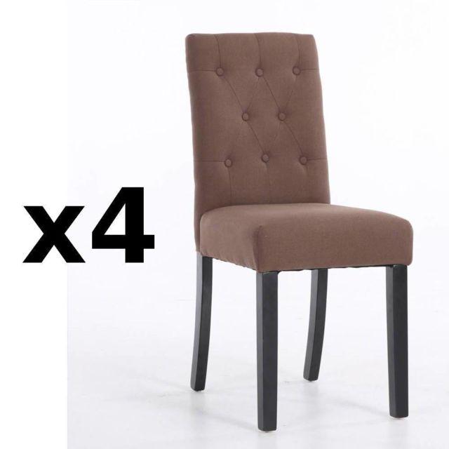inside 75 lot de 4 chaises capitonn es dagobert en lin taupe pas cher achat vente chaises. Black Bedroom Furniture Sets. Home Design Ideas