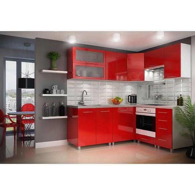 Plan De Travail Rouge Laqu Cuisine Rouge Ouverte Sur