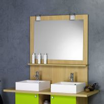 Creazur - Miroir avec crédence étagère Mircarl - 100 cm