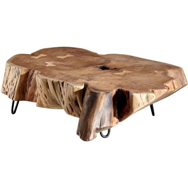 Comforium Table Basse Marron Rustique Tronc D Arbre En