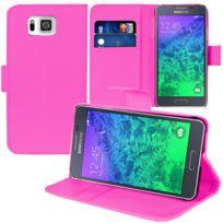 Vcomp - Housse Coque Etui portefeuille Support Video Livre rabat cuir Pu pour Samsung Galaxy Alpha Sm-g850F/ Galaxy Alfa/ Alpha S801, / G850FQ G850Y G850A G850T G850M G850W G8508S - Rose