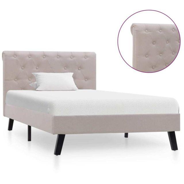Vidaxl Cadre de lit Lin clair Tissu 90 x 200 cm