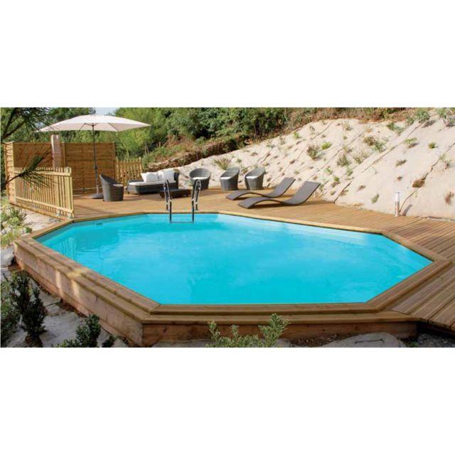 Sunbay piscine bois safran 6 37 x 4 12 x 1 33 m pas cher achat vente piscines bois - Piscine bois 6 x 4 ...