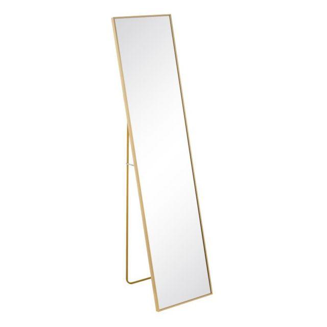 Tousmesmeubles Miroir sur pied Métal doré taille S - Kansas