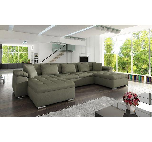 CHLOE DESIGN Canapé panoramique convertible tissu CLEA - taupe - Réversible