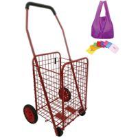 BO TIME - Chariot de courses en métal 4 roues - Pliable - Capacité 43L - Rouge