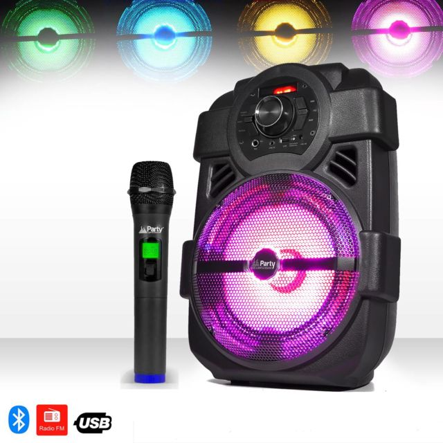 Party Sound Enceinte mobile Karaoke batterie 250W à Leds Rvb - Usb/BLUETOOTH/FM + Micro sans-fil