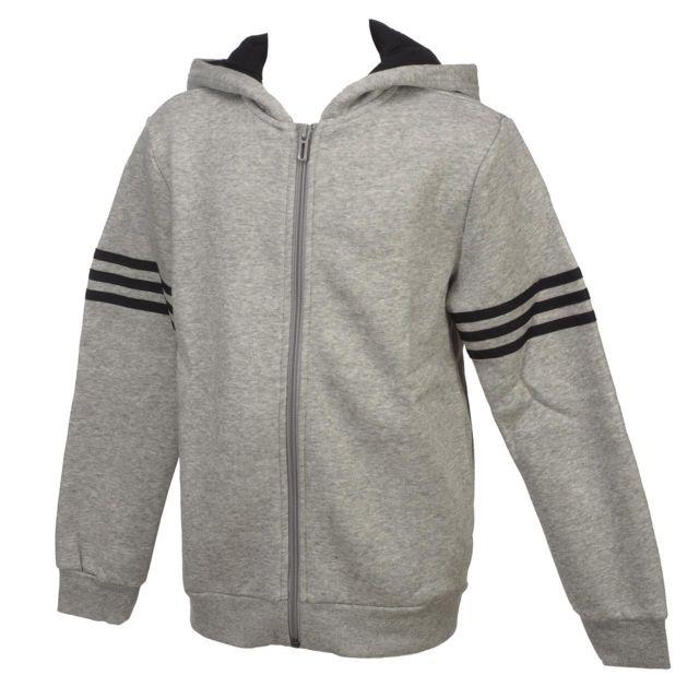 Adidas Vestes sweats zippés capuche Yb sid grc fz capsweat