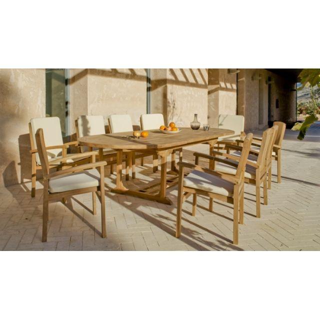 Déco Maison - Table ovale teck 3m à rallonges 8 fauteuils écrus ...