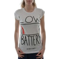 Happiness - Tee shirt low battery blanc
