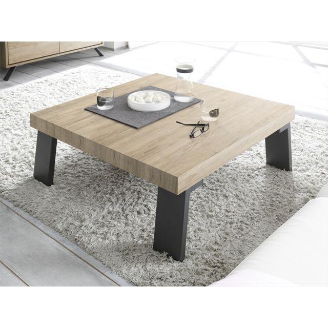 Kasalinea Table basse bois métal carrée Plume