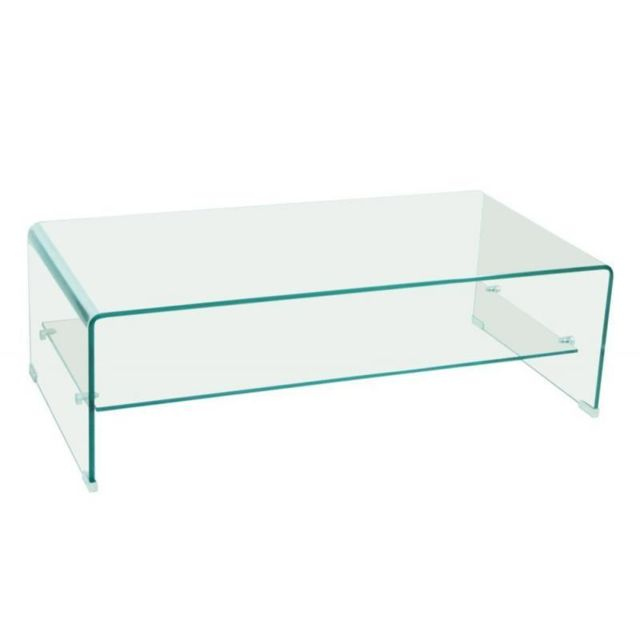Inside 75 Table basse design Side en Verre trempé 12mm Transparent