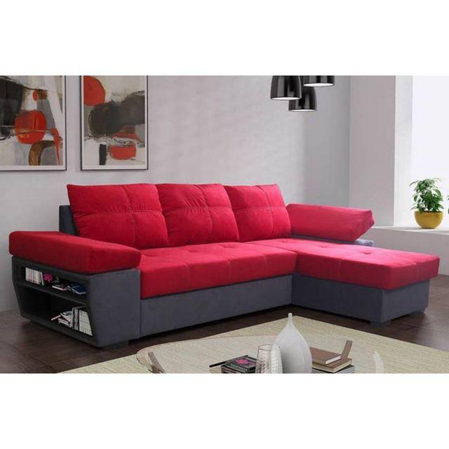 Inside 75 Canapé d'angle gigogne convertible rapido Castle 140cm en microfibre rouge et anthracite