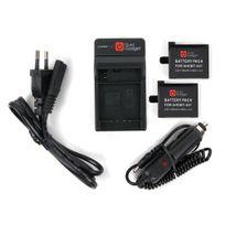Duragadget - Chargeur 2 en 1 pour caméscope GoPro 4, Hero 4 / Hero4 - adaptateur secteur + 2 batteries