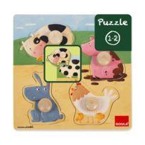 Diset - Puzzle encastrement en bois : Les animaux de la ferme